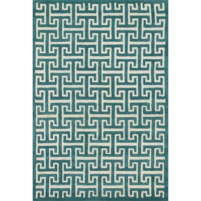 Brighton Hand-Tufted Teal Area Rug Rug Size: 36 x 56