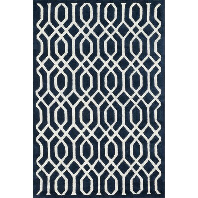 Brighton Hand-Hooked Navy Area Rug Rug Size: Rectangle 36 x 56