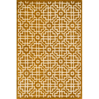 Dandridge Hand-Hooked Gold Area Rug Rug Size: Rectangle 36 x 56