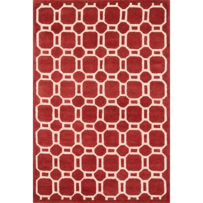Brighton Hand-Hooked Red Area Rug Rug Size: 5 x 76