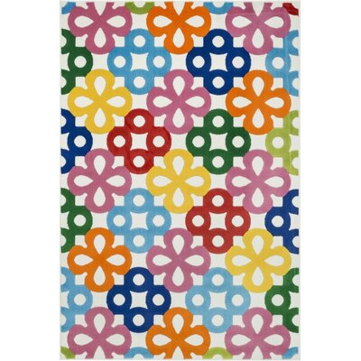 Stacy Blue/Pink/Orange Area Rug Rug Size: 27 x 311