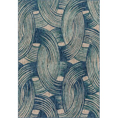 Summerfield Blue Indoor/Outdoor Area Rug Rug Size: Rectangle 92 x 121
