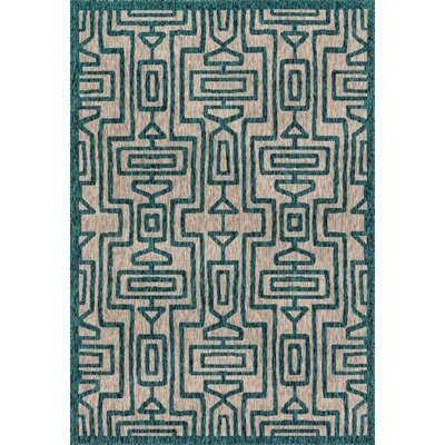 Summerfield Teal Indoor/Outdoor Area Rug Rug Size: Rectangle 92 x 121