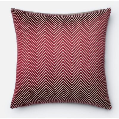100% Cotton Throw Pillow Color: Red/Beige