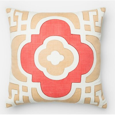 100% Cotton Throw Pillow Color: Sand/Red