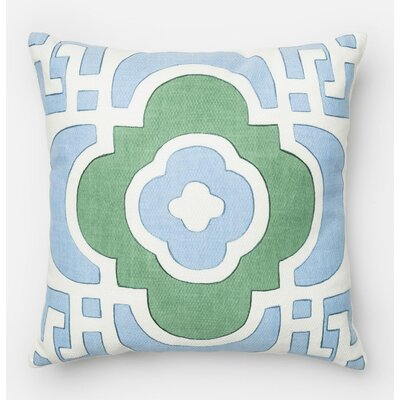 100% Cotton Throw Pillow Color: Light Blue/Green