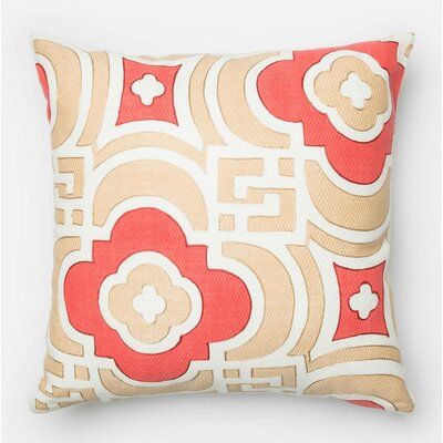 Norrell Cotton Throw Pillow Color: Sand/Red