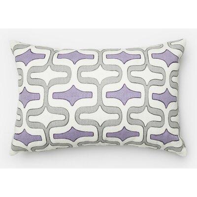 100% Cotton Lumbar Pillow Color: Gray/Plum