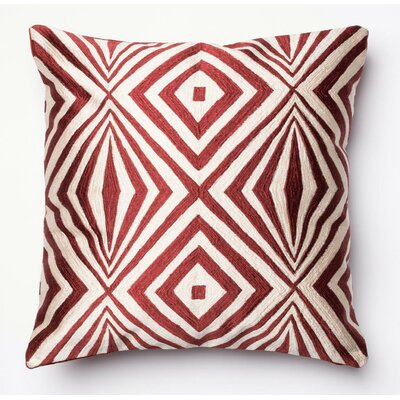 100% Cotton Throw Pillow Color: Red/Ivory
