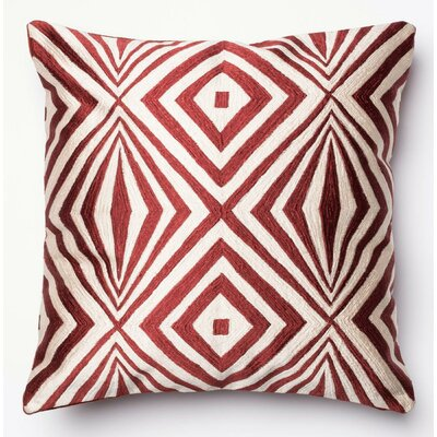 100% Cotton Pillow Cover Color: Red/Ivory