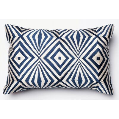100% Cotton Pillow Cover Color: Navy/Ivory