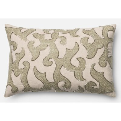 100% Cotton Pillow Cover Color: White/Beige