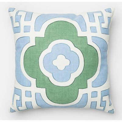 100% Cotton Pillow Cover Color: Light Blue/Green
