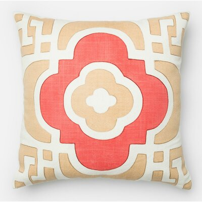 100% Cotton Pillow Cover Color: Sand/Red