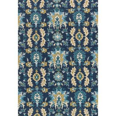 Francesca Hand-Hooked Blue/Beige Area Rug Rug Size: Round 3