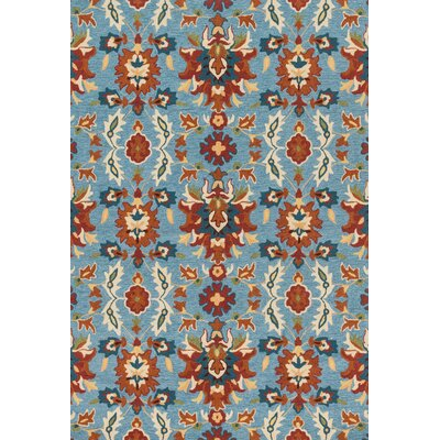 Kips Bay Hand-Hooked Blue/Red Area Rug Rug Size: Rectangle 36 x 56