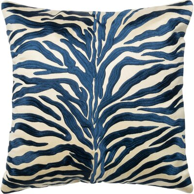 100% Cotton Throw Pillow Color: Blue