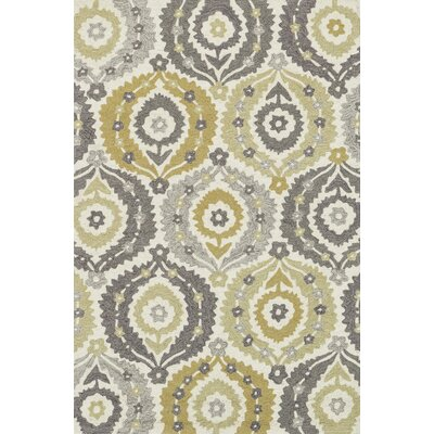 Francesca Hand-Hooked Ivory/Graphite Floral Area Rug Rug Size: Rectangle 23 x 39