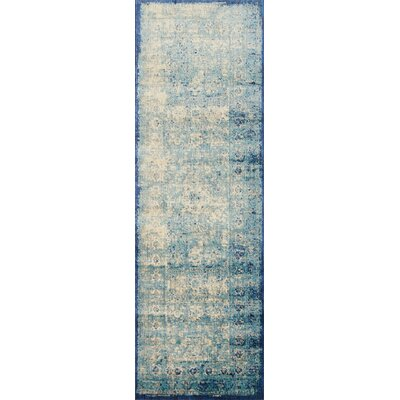 Anastasia Blue/Ivory Area Rug Rug Size: Runner 27 x 12