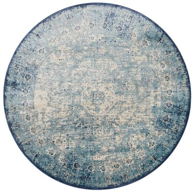 Zehner Blue/Ivory Area Rug Rug Size: Rectangle 53 x 78