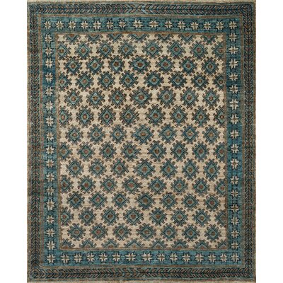 Zacarias Beige/Ocean Area Rug Rug Size: Rectangle 56 x 86