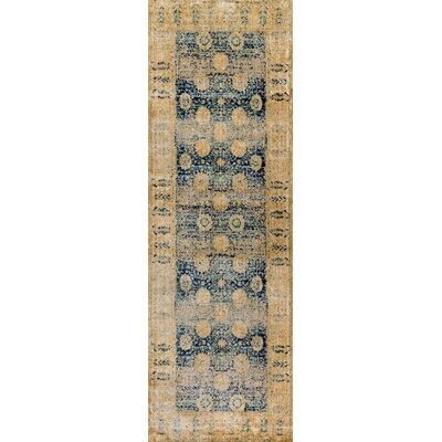 Zehner Blue/Gold Area Rug Rug Size: Runner 27 x 8