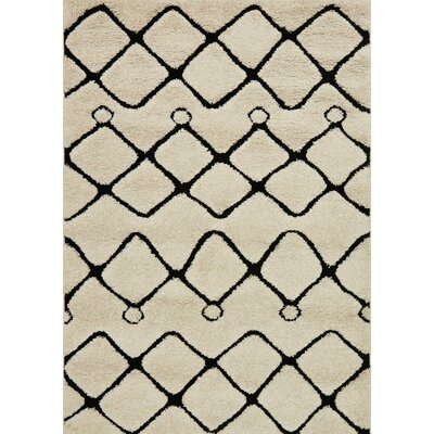 Enchant Beige/Black Area Rug Rug Size: Rectangle 53 x 77