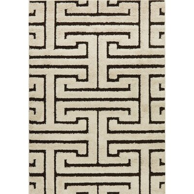 Enchant Ivory/Dark Brown Area Rug Rug Size: 53 x 77
