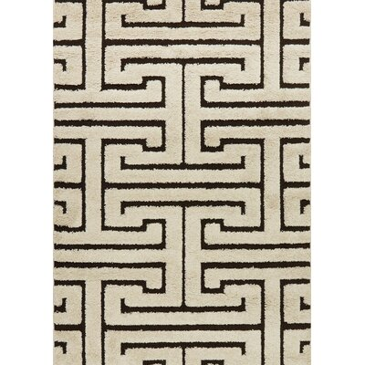 Dania Ivory/Dark Brown Area Rug Rug Size: Rectangle 53 x 77