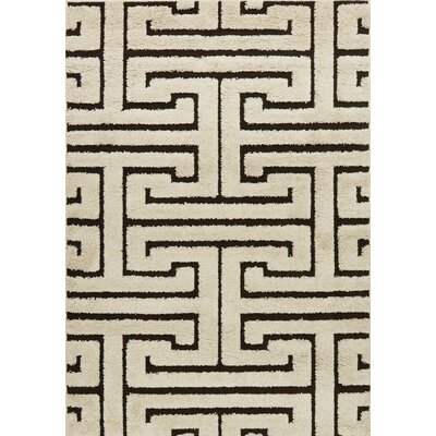 Enchant Ivory/Dark Brown Area Rug Rug Size: 23 x 39