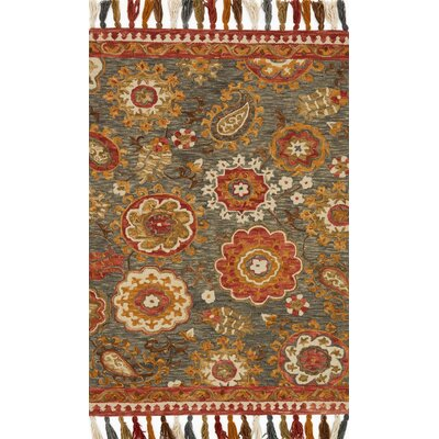 Farrah Gray/Red Area Rug Rug Size: 23 x 39
