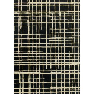Nova Hand-Tufted Black/Beige Area Rug Rug Size: Rectangle 5 x 76