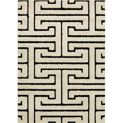 Enchant White/Black Area Rug Rug Size: 53 x 77