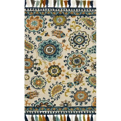 Zambrana Beige/Blue Area Rug Rug Size: Rectangle 36 x 56