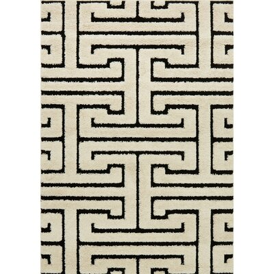 Enchant White/Black Area Rug Rug Size: 23 x 39