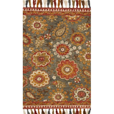 Farrah Gray/Red Area Rug Rug Size: 36 x 56