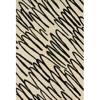 Nova Hand-Tufted Beige/Black Area Rug Rug Size: 5 x 76
