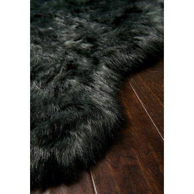 Yukon Faux Sheepskin Black Area Rug Rug Size: Rectangle 2 x 3