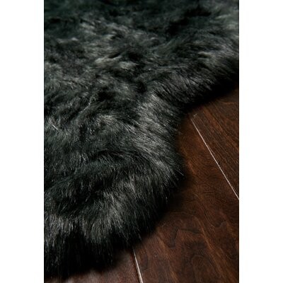 Panella Faux Sheepskin Black Area Rug Rug Size: Rectangle 3 x 5