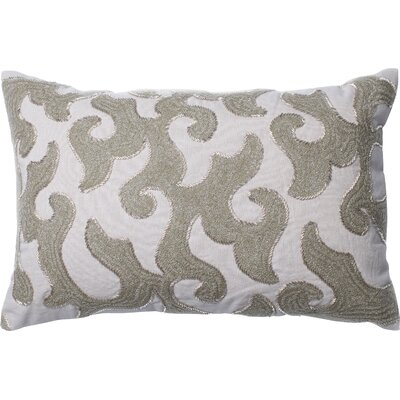 Cotton Lumbar Pillow Color: White/Beige