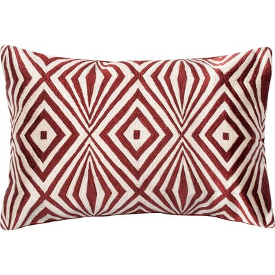 100% Cotton Lumbar Pillow Color: Red/Ivory