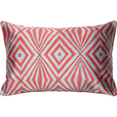 100% Cotton Lumbar Pillow Color: Coral/Teal