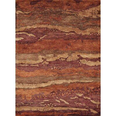 Eternity Hand Tufted Silk Spice/Rust Area Rug Rug Size: 36 x 56