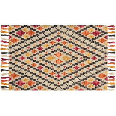 Farrah Silver/Orange Area Rug Rug Size: 23 x 39
