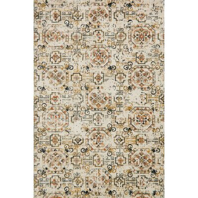 Ivory/Taupe Area Rug Rug Size: Rectangle 27 x 4