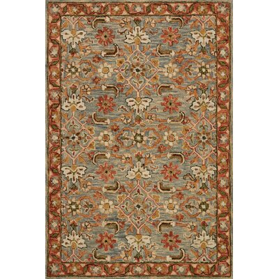 Watertown Hand-Hooked Slate/Terracotta Area Rug Rug Size: 5 x 7