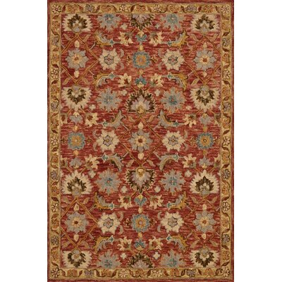 Watertown Hand-Hooked Terracotta/Gold Area Rug Rug Size: Rectangle 5 x 7