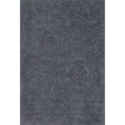 Filigree Hand-Tufted Navy Area Rug Rug Size: 36 x 56