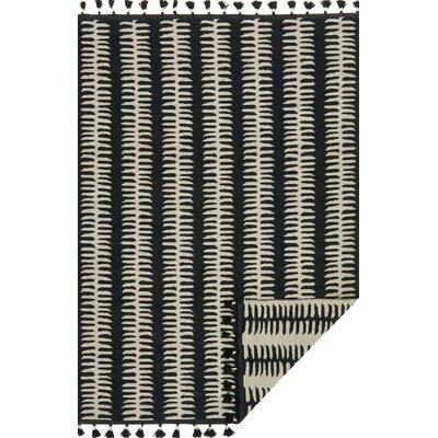 Kahelo Hand-Woven Black/Gray Area Rug Rug Size: 23 x 39