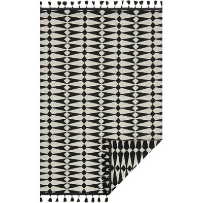 Pangburn Hand-Woven Black/Ivory Area Rug Rug Size: Rectangle 23 x 39